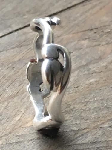 Zilveren uitgezaagde sneeuwklokje ring