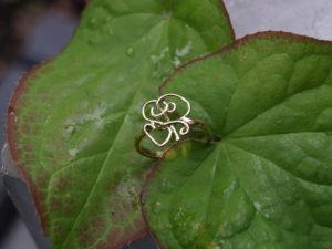 Geelgouden ring met initialen S & R