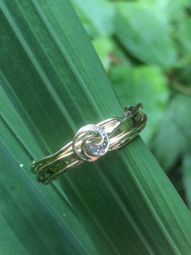Gouden ring veranderd met dasspeld